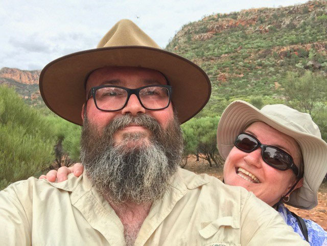Megan and David Selfie at Arkaroo Rock, South Australia