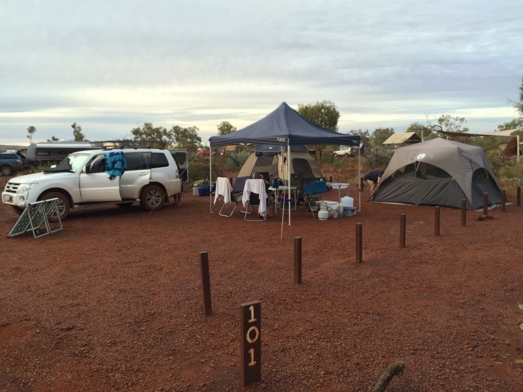 The camp site at Karijini Eco Retreat was made up of short iron posts marking our area with large red rocks making up the ground