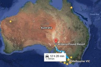 Melbourne to Wilpena Pound Map